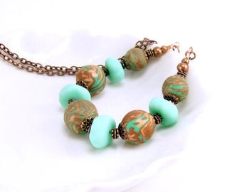 Beaded Necklace, Mint Aqua Green and Copper, Polymer Clay Jewelry