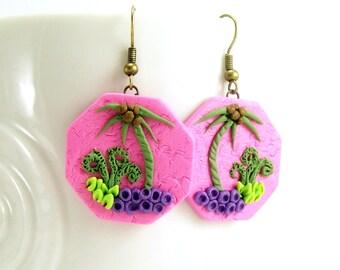Pink Geometric Dangle Earrings, Palm Tree, Polymer Clay Jewelry