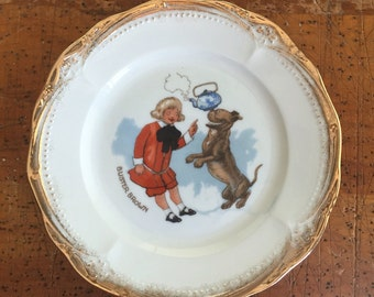 Vintage Buster Brown and Dog Tige Advertising Premium USA 1930s Childs China Give-away Buster Brown Shoes