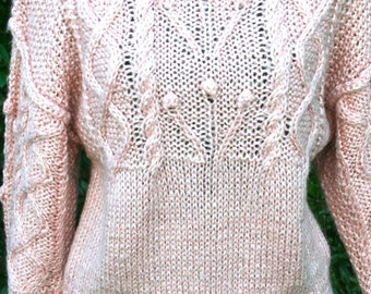 LIZ CLAIBORNE Vintage Hand Knitted Sweater Earthy Pink Petite Small