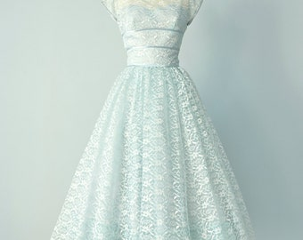 Vintage 1950s Party Dress...LORRIE DEB Pale Blue Tea Length Lace Party Dress Wedding Dress