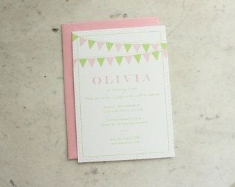 girl or twin girl's / children's birthday party invitation - pennant, pink and green