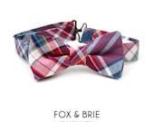 Berry Plaid Kids Bow Tie