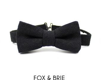 Black Linen Kids Bow Tie