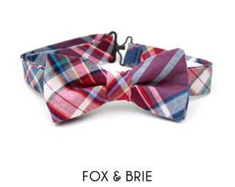 Berry Plaid Kids Bow Tie