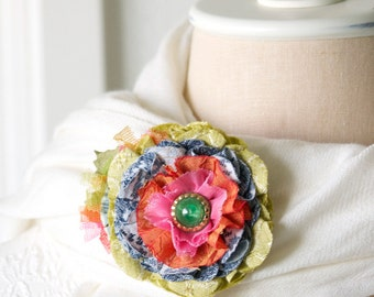 Colorful Fabric Flower Pin, Textile Brooch, Flower Corsage, Gift for Teen Girls, Gift for Mom, Floral Hat Pin, Rainbow Wedding