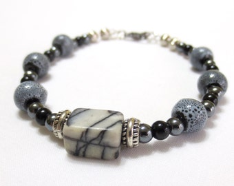 Black and Gray Stone Bracelet/ Pewter Bracelet/Gunmetal Hematite Beads/Silvery Gray Pottery Beads/Black and Silver Bracelet/Women's Bracelet