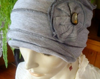 Womens Chemo Hat headwear set of headband and cap Silver Grey soft cotton knit two piece set