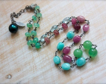 Chrysoprase, Sapphire, Tourmaline, Topaz, Amazonite, Multi Stone Necklace, Sterling Silver Necklace, Bohemian Necklace... Kismet...