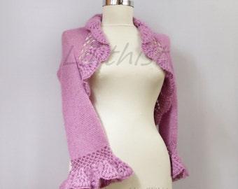 Lilac Knit Shrug, Crochet Shrug, Sweater Shrug, Lavander Knit Bolero, 3/4 Sleeve Crochet Bolero Cape, Bridal Shrug Bolero S / M / L