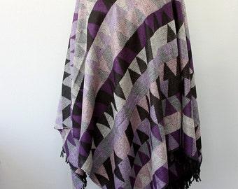 Ethnic poncho Geometric Autumn fall fashion Boho chic poncho Winter wrap Native cape Women clothings Hippie outerwear Purple grey black