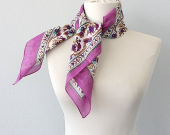 Cotton bandana scarf Tie up headband Purple floral small handkerchief Gauze neck scarf Summer headwrap Beach accessories Gift for her