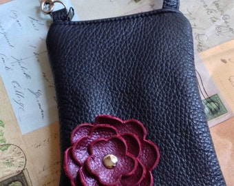 Black Leather Raspberry Wine Poppy Flower Cell Phone Smartphone Galaxy Iphone Gadget Camera Small Purse Case Zipper Pouch