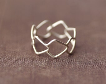 Geometric Patterned Statement Ring - Sterling Silver