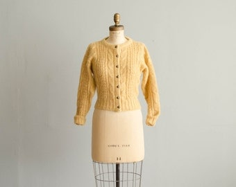 1970s Mohair Cardigan - Vintage 70s Sweater - Creamed Butter Cardigan