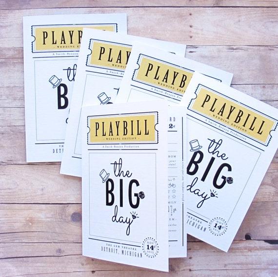playbill wedding program theater inspired 3 panel folded
