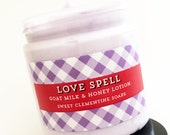 Love Spell Lotion, Valentines Day Gift, Valentine Day Spa Gift, Gift for Mom, Gift for Wife, Goat's Milk and Honey Hand and Body Lotion