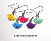 USA You Choose Color Hand Painted The Early Bird Gets The Worm Earrings - Surgical Steel French Hooks