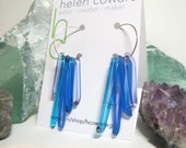 Turquoise, Periwinkle, & Blue/Lavender Glass Dangle Sterling Silver Hoop Earrings