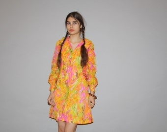 Vintage 1960s  Neon Mod Psychedelic Short Hippie Gogo Shirt Dress  -  1960s Dresses  - WD0831