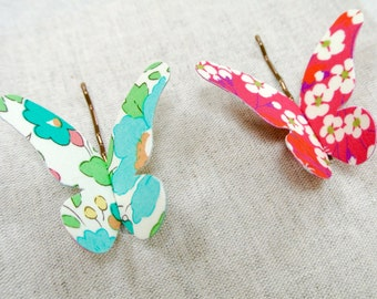 Set of Two Christmas Liberty of London Butterfly Hair Grips ~ Christmas Bright ~ FREE UK DELIVERY