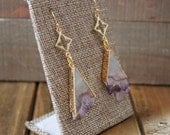 Amethyst Triangle Filigree Gold Drop Earrings/ Amethsyt Triangle Clover Drop Chandelier Dangle Natural Gemstone Stone (ECD19)