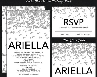 Silver Confetti Bat Mitzvah Invitation - Guest & Return Addressing - RSVP Card - Thank You Notes - Custom Colors Available