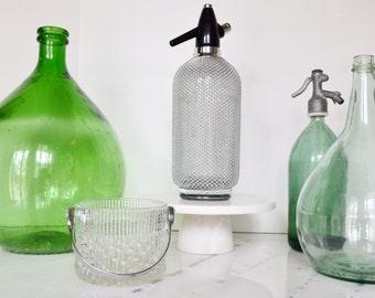 Vintage Seltzer Bottle with Metal Casing
