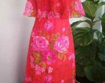 70s MR. BOOTS—Rose Print Halter Dress—Maxi—Skimpy—Hot Pink & Cherry—Size 4