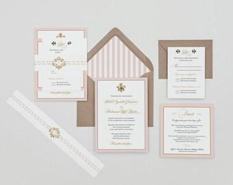 Fleur de lis Monogram French Baroque Wedding Invitation,French Monogram Wedding Invitation,Blush Wedding Invitations,Fleur de lis Invitation