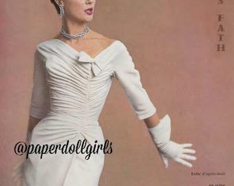 Vintage Fashion Magazine Advertisement L Officiel April 1956 Magazine Ad Jacques Fath Dinner Dress Paris Haute Couture Wall Art