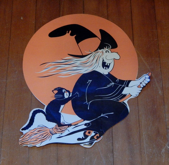Vintage Halloween Witch Decoration Broomstick w Black Cat 70's Paper Ephemera Decor Black & Orange