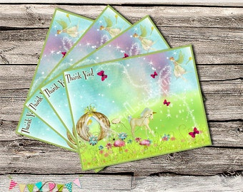 Unicorns & Fairies High Tea - Matching Thank You Cards - Printable - DIY - Digital File - INSTANT DOWNLOAD