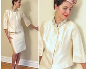Vintage 1960s Ivory Silk Wedding Suit / 60s Formal Skirt and Jacket Set Beaded Collar / Small