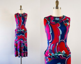 1960s Jolie Fleur abstract silk gown / 60s french couture