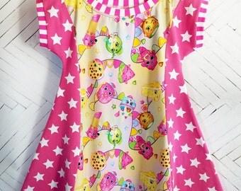 Shopkins-inspired girls dress size 10 L tunic dress pink stars spring dress summer dress sun dress tunic top pink dress tween dress