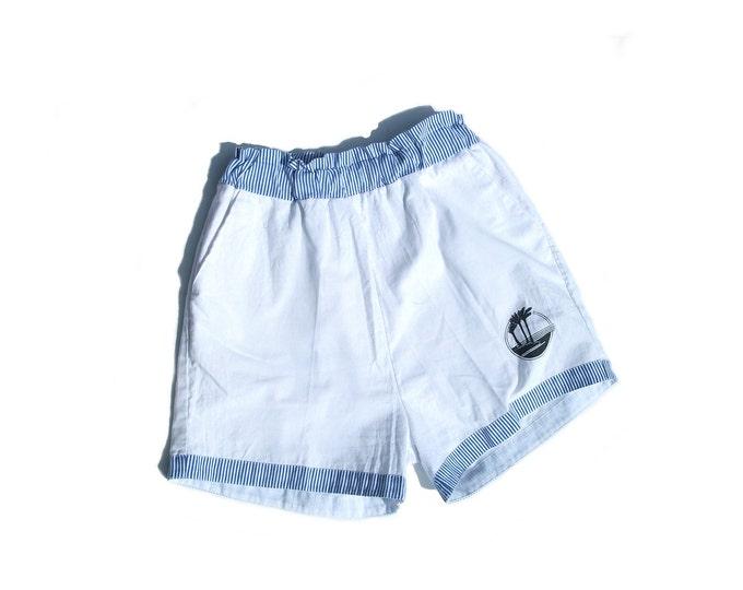 80s beach shorts high waist cotton white railroad striped 1980s vintage palm tress island vacation swim workout lounge wear small S medium M