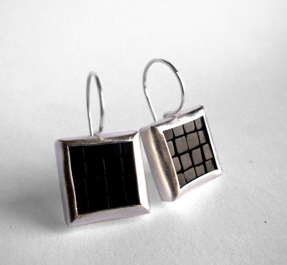Mosaic Earrings - Black Onyx Silver Earrings - Onyx Earrings - Square Earrings - Gemstone Earrings - Mosaic Jewelry - French Wire Earrings