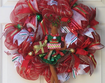 Christmas Wreath, Winter Wreath, Deco Mesh Wreath, Ready for Christmas, Front Door Wreath