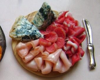 Dollshouse Food , miniatures dollshouse , antipasti salumi and cheese platter