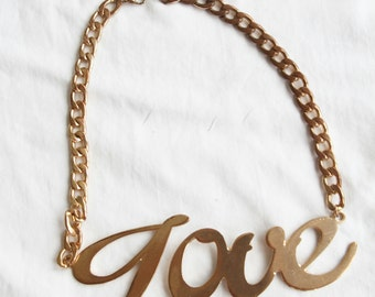 1990s Vintage Gold Love Bling Necklace from Paris