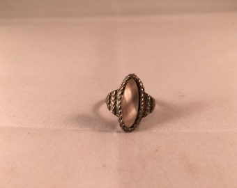 Vintage Silver & Mother of Pearl Ring - Adjustable