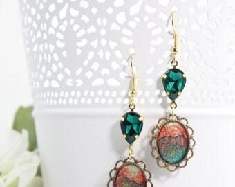 Green Artisan Art Deco Earrings – Painted Earrings - Crystal Drop Dangle Earrings - Long Dainty Jewelry Earrings – Abstract Art Jewelry -E34