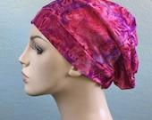Turban Hat, Chemo Hat, Alopecia Cap, Slouch Hat, Purple Fuchsia Leaf Batik, Boho