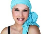 Aqua Turban, Turquoise Head Wrap Alopecia Chemo Hat, Cancer Hat, Head Scarf Jersey Knit, Hat & Scarf Set 78-03