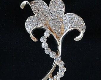 10-04a Rhinestone Flower Brooch, Flower Pin, Vintage Style Brooch