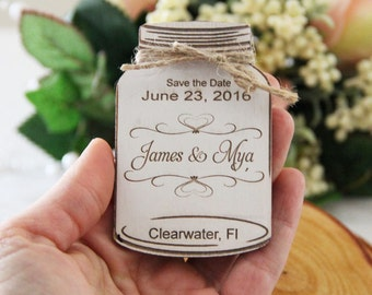 Save the Date Magnet, Wedding Announcement, Wood Save the Date, Rustic Wedding Announcement, Mason Jar Save the Date