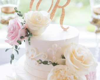 Wedding Cake Topper Letter Monogram in Glitter Gold or Custom, Party Cake Topper Wedding Decor Cake, Engagement, Shower Etc. (Item - CTL900)