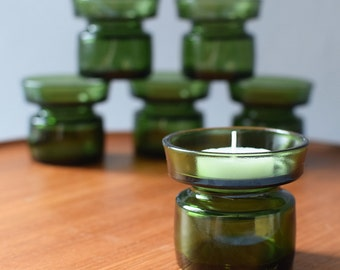 Vintage Danish Modern Green Glass Votive Candle Tea Light Holder Jens Quistgaard for Dansk Scandinavian