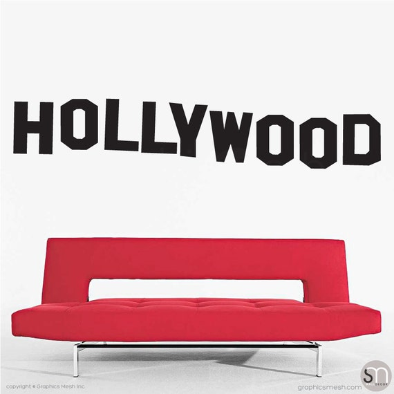 HOLLYWOOD SIGN wall decals - Interior decor - home & office surface graphics - LA inspired